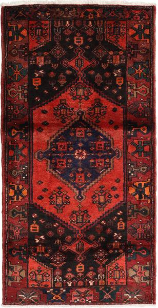 Hamadan Teppe 107X210 Ekte Orientalsk Håndknyttet Svart/Mørk Rød (Ull, Persia/Iran)