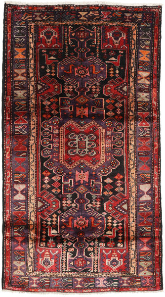 Hamadan Vloerkleed 109X195 Echt Oosters Handgeknoopt Zwart/Donkerrood (Wol, Perzië/Iran)