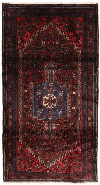 Hamadan Teppe 107X201 Ekte Orientalsk Håndknyttet Svart/Mørk Rød (Ull, Persia/Iran)