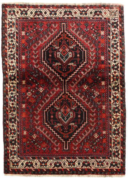 Shiraz Matto 108X148 Itämainen Käsinsolmittu Tummanpunainen/Tummanruskea (Villa, Persia/Iran)