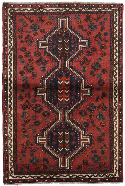 Shiraz Matto 103X155 Itämainen Käsinsolmittu Tummanpunainen/Musta (Villa, Persia/Iran)