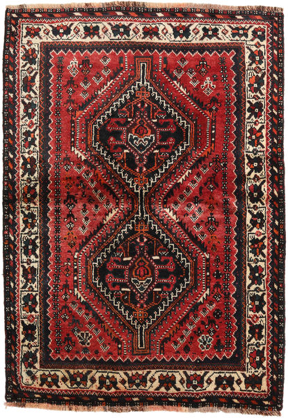 Shiraz Matto 111X157 Itämainen Käsinsolmittu Tummanruskea/Tummanpunainen (Villa, Persia/Iran)