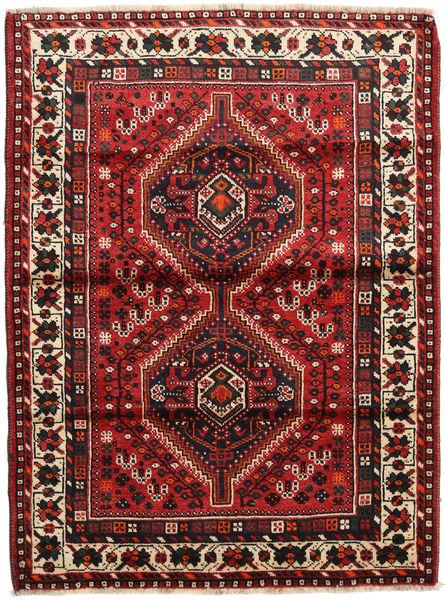 Shiraz Rug 118X158 Authentic  Oriental Handknotted Dark Red/Dark Brown (Wool, Persia/Iran)