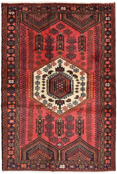 Hamadan Matto 125X182 Itämainen Käsinsolmittu Tummanpunainen/Ruskea/Musta (Villa, Persia/Iran)