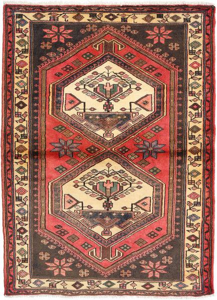 Hamadan Matto 104X148 Itämainen Käsinsolmittu Tummanruskea/Tummanpunainen (Villa, Persia/Iran)
