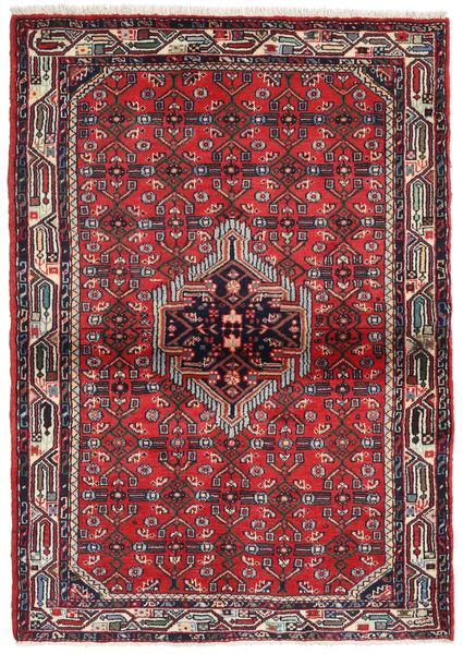 Hamadan Matto 110X157 Itämainen Käsinsolmittu Punainen/Tummanvihreä (Villa, Persia/Iran)