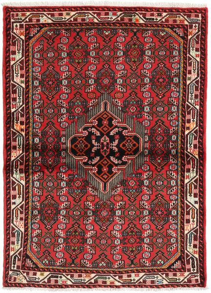 Hamadan Matto 106X144 Itämainen Käsinsolmittu Ruoste/Tummanruskea (Villa, Persia/Iran)