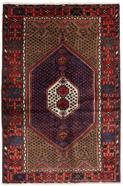 Hamadan Matto 134X200 Itämainen Käsinsolmittu Tummanpunainen (Villa, Persia/Iran)