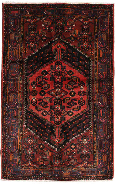 Hamadan Rug 137X214 Authentic  Oriental Handknotted Dark Brown/Dark Red (Wool, Persia/Iran)