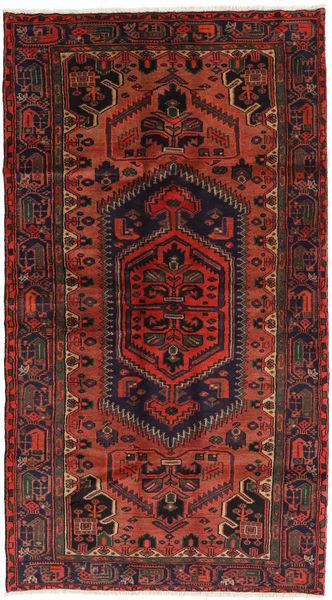 Hamadan Matto 126X225 Itämainen Käsinsolmittu Musta/Ruoste/Tummanpunainen (Villa, Persia/Iran)