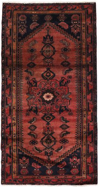 Hamadan Matto 108X203 Itämainen Käsinsolmittu Tummanpunainen/Musta (Villa, Persia/Iran)