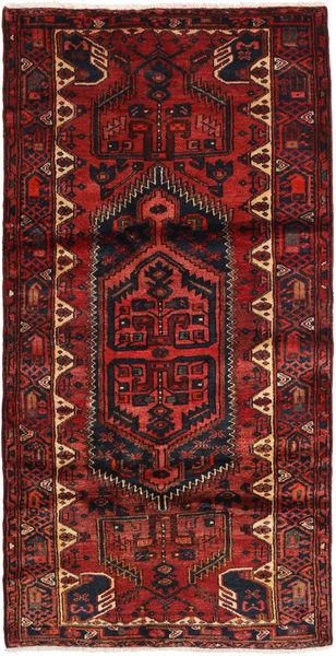 Hamadan Matto 104X207 Itämainen Käsinsolmittu Tummanpunainen/Musta (Villa, Persia/Iran)