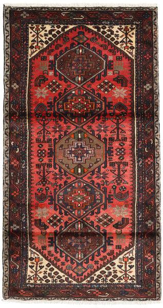 Hamadan Rug 102X188 Authentic  Oriental Handknotted Dark Brown/Dark Red (Wool, Persia/Iran)