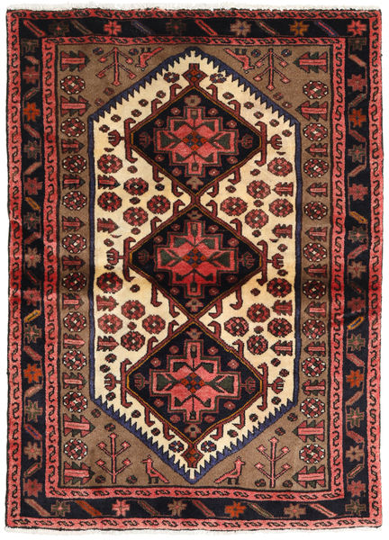 Hamadan Alfombra 108X148 Oriental Hecha A Mano Negro/Rojo Oscuro (Lana, Persia/Irán)