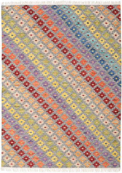 Spring キリム 絨毯 210X290 モダン 手織り 薄い灰色/暗めのベージュ色の (ウール, インド)
