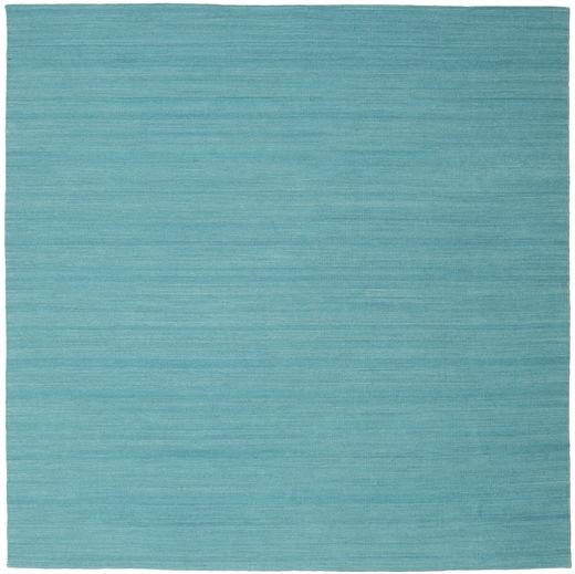 Kilim Loom - Morska Zieleń Dywan 250X250 Nowoczesny Tkany Ręcznie Kwadratowy Turkusowy Niebieski Duży (Wełna, Indie)