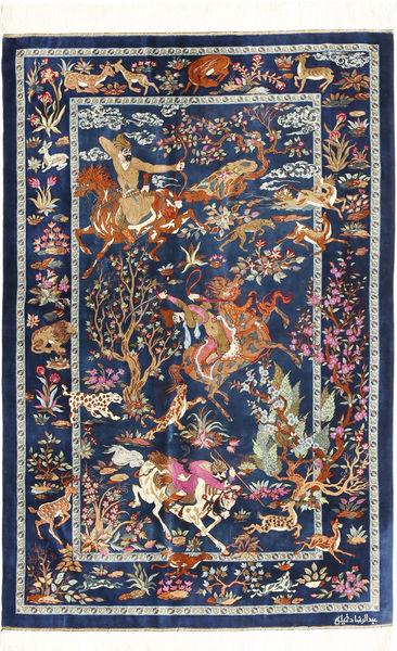 Ghom De Seda Alfombra 102X157 Oriental Hecha A Mano Azul Oscuro/Marrón Claro (Seda, Persia/Irán)