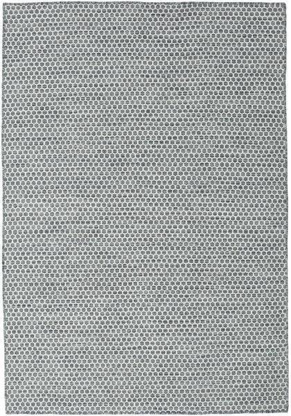 Kelim Honey Comb - Dunkel Grau Teppich  160X230 Echter Moderner Handgewebter Hellgrau/Dunkelgrau/Blau (Wolle, Indien)