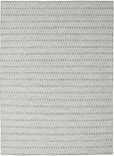 Kilim Long Stitch - Grey Rug 210X290 Authentic  Modern Handwoven Light Grey/Turquoise Blue (Wool, India)