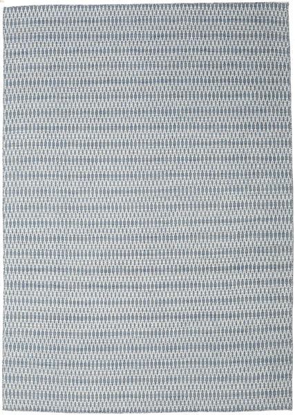 キリム Long Stitch - 青 絨毯 240X340 モダン 手織り 薄い灰色/水色 (ウール, インド)