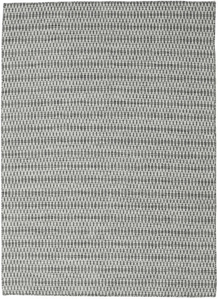 Kilim Long Stitch - Black/Grey Rug 210X290 Authentic  Modern Handwoven Light Grey/Dark Grey (Wool, India)