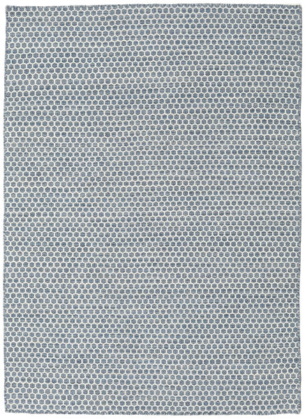 Kilim Honey Comb - Blue Rug 140X200 Authentic  Modern Handwoven Light Grey/White/Creme/Light Blue (Wool, India)