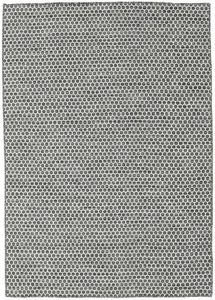 Kilim Honey Comb - Noir/Gris Tapis 140X200 Moderne Tissé À La Main Gris Clair/Gris Foncé (Laine, Inde)
