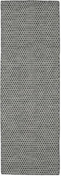Kelim Honey Comb - Svart/Grå Matta 80X240 Äkta Modern Handvävd Hallmatta Mörkgrå/Ljusgrå (Ull, Indien)