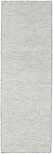 Kilim Goose Eye - Dark Grey Rug 80X240 Authentic  Modern Handwoven Hallway Runner  Light Grey/Beige (Wool, India)