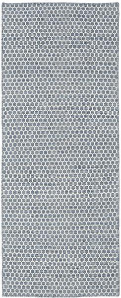 Kelim Goose Eye - Dunkel Grau Teppich  80X340 Echter Moderner Handgewebter Läufer Hellgrau/Hellblau (Wolle, Indien)