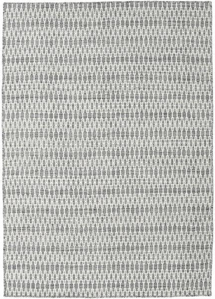 Kelim Long Stitch - Tumma Harmaa Matto 140X200 Moderni Käsinkudottu Vaaleanharmaa/Beige (Villa, Intia)