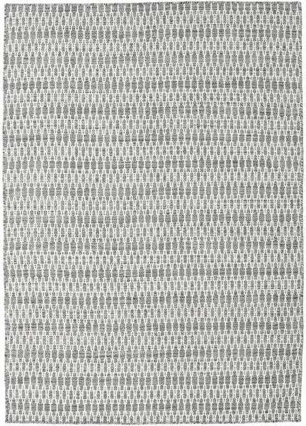 Kilim Long Stitch - Dark Grey Rug 140X200 Authentic  Modern Handwoven Light Grey/Beige (Wool, India)