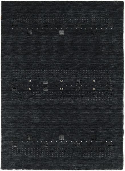 Loribaf Loom Eta - Sort/Grå Tæppe 140X200 Moderne Mørkeblå (Uld, Indien)