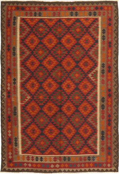 Kelim Maimane Teppe 198X295 Ekte Orientalsk Håndvevd Mørk Rød/Rust (Ull, Afghanistan)
