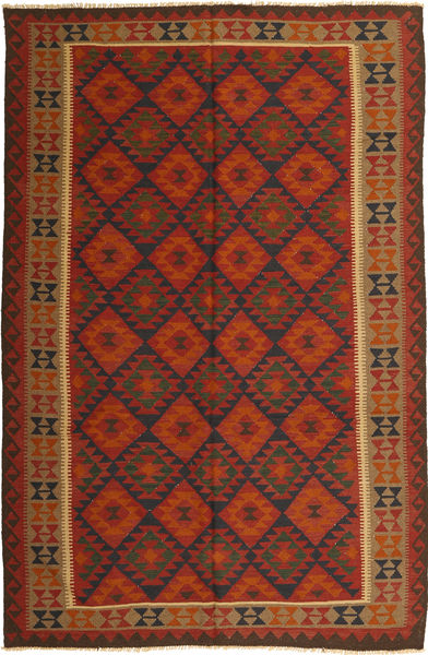Kelim Maimane Teppe 194X296 Ekte Orientalsk Håndvevd Rust/Mørk Rød (Ull, Afghanistan)
