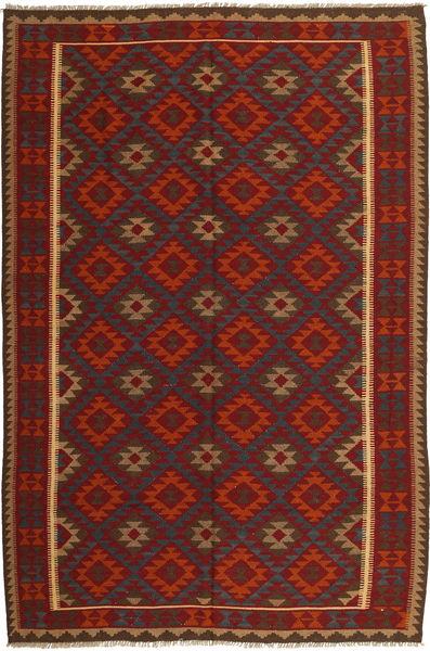 Kelim Maimane Teppe 196X293 Ekte Orientalsk Håndvevd Mørk Rød/Mørk Grå (Ull, Afghanistan)