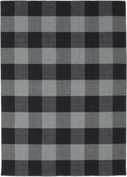 Check Kilim Rug 210X290 Authentic  Modern Handwoven Dark Grey/Black (Wool, India)