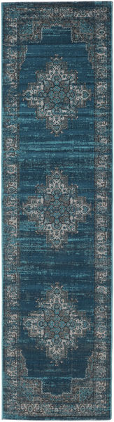 Vintage Vega - Petrol/Turquoise Rug 80X300 Modern Hallway Runner  Dark Blue/Light Grey ( Turkey)