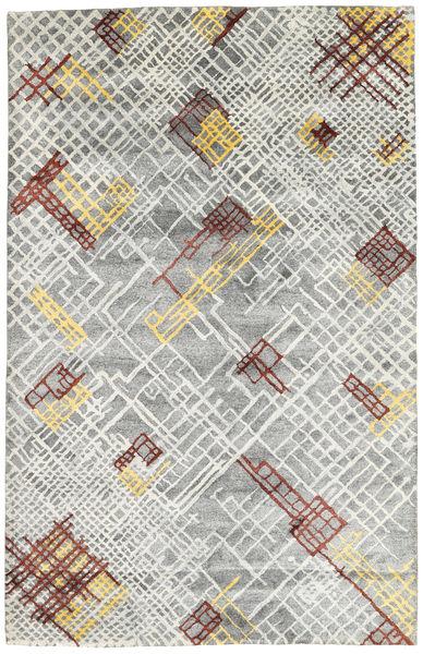 Handtufted Tapis 157X243 Moderne Gris Clair/Blanc/Crème (Laine, Inde)