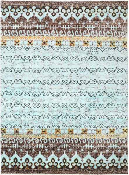 Quito - L. Blå Matta 240X340 Äkta Modern Handknuten Ljusblå/Ljusgrå (Silke, Indien)