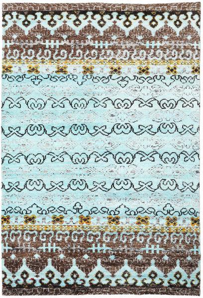 Quito - L. Sininen Matto 190X290 Moderni Käsinsolmittu Siniturkoosi/Tummanharmaa (Silkki, Intia)