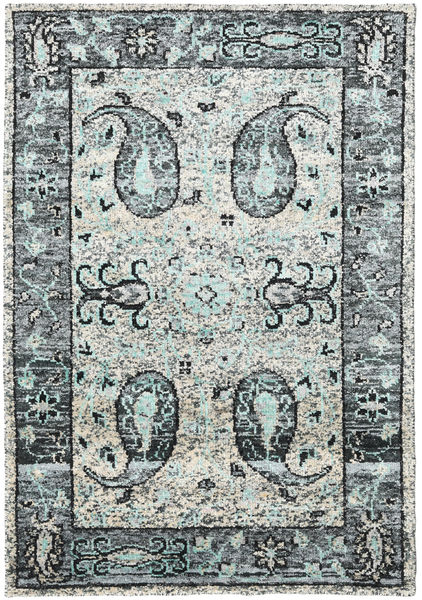 Vega Sari Silk - Grey Rug 140X200 Authentic  Modern Handknotted Light Grey/Beige (Silk, India)