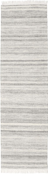 Diamond Wool - Grey Rug 80X340 Authentic  Modern Handwoven Hallway Runner  Light Grey/Dark Beige (Wool, India)