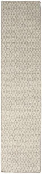 Kilim Long Stitch - Beige Tapis 80X340 Moderne Tissé À La Main Tapis Couloir Gris Clair/Beige Foncé (Laine, Inde)