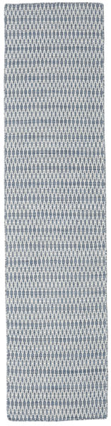 Kilim Long Stitch - Blue Rug 80X340 Authentic  Modern Handwoven Hallway Runner  Light Grey/White/Creme (Wool, India)