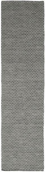 Kilim Honey Comb - Czarny/Szary Dywan 80X340 Nowoczesny Tkany Ręcznie Chodnik Ciemnoszary/Jasnoszary (Wełna, Indie)