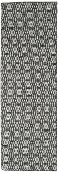 Kilim Long Stitch - Black/Grey Rug 80X240 Authentic  Modern Handwoven Hallway Runner  Dark Grey/Light Grey (Wool, India)