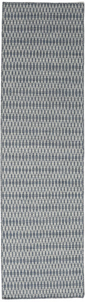 Kilim Long Stitch - Blue Rug 80X290 Authentic  Modern Handwoven Hallway Runner  Light Grey/Dark Grey (Wool, India)