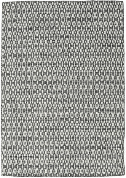 Kilim Long Stitch - Black/Grey Rug 160X230 Authentic  Modern Handwoven Light Grey/Dark Grey (Wool, India)