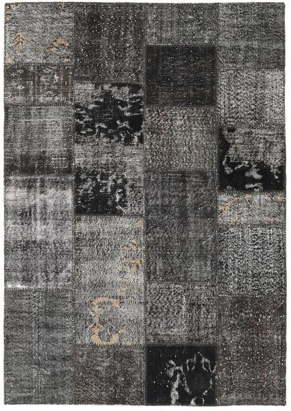 Patchwork Matto 160X230 Moderni Käsinsolmittu Tummanharmaa/Musta (Villa, Turkki)